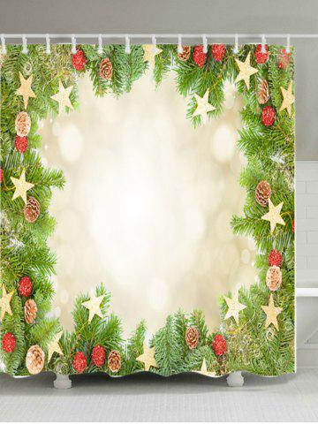 Hot Christmas Tree Stars Print Fabric Waterproof Bathroom Shower Curtain GREEN W71 INCH * L79 INCH