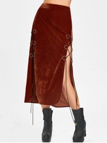 Chic High Slit Maxi Lace Up Velvet Skirt - M SUGAR HONEY Mobile
