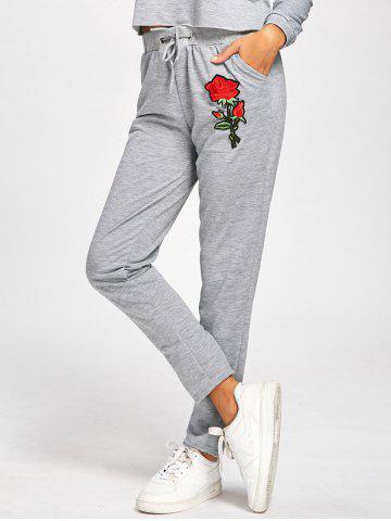 Best Embroidered High Waisted Sweatpants - M GRAY Mobile