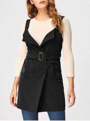 New Open Back Waistcoat with Belt - 2XL BLACK Mobile
