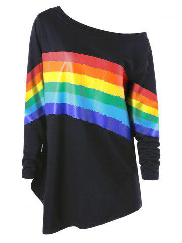 Fancy Plus Size Skew Neck Colorful Stripes Pullover Sweatshirt