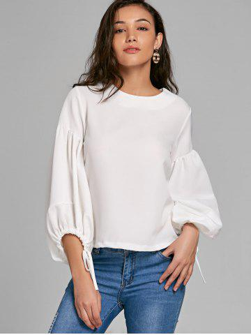 Lacing Cuffs Puff Sleeve Top