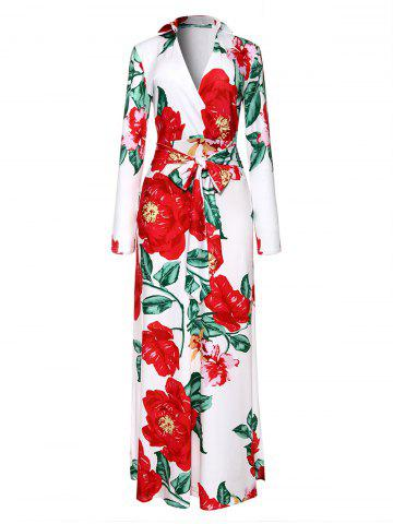 Cheap Floor Length Floral Print Surplice Dress - L COLORMIX Mobile