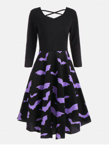 Bat Print Cross Back Fit et Flare Dress Noir S