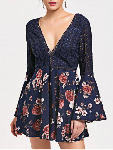 Best Hollow Out Backless Floral Low Cut Romper - XL CERULEAN Mobile