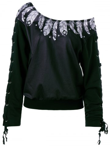 Trendy Lace Up Feather Print Skew Neck Sweatshirt - M BLACK Mobile