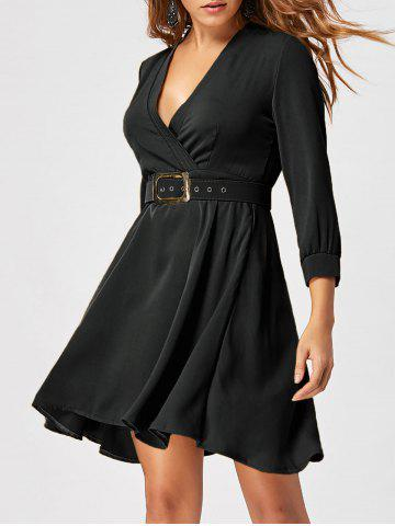 Store Skater Dress with Belt - L BLACK Mobile