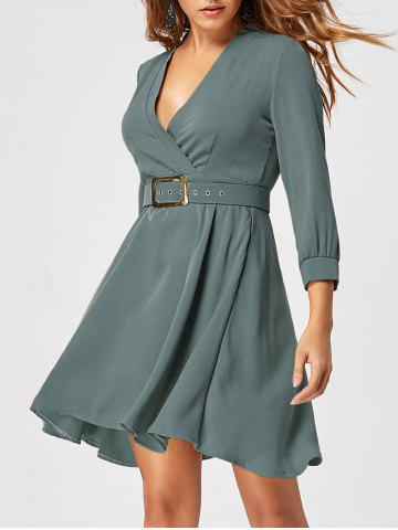 Buy Skater Dress with Belt - M SAGE GREEN Mobile