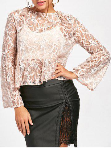 Discount Flare Sleeve See Thru Lace Blouse NUDE XL