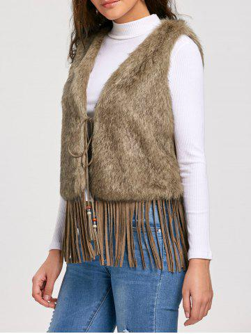 Hot Tie Up Faux Fur Fringe Vest KHAKI 2XL