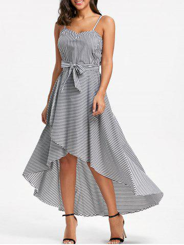 Hot Striped High Low Slip Dress with Belt