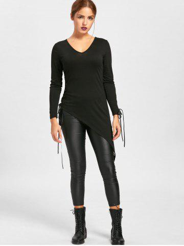 Buy Halloween Sheer Asymmetrical Lace Up Top