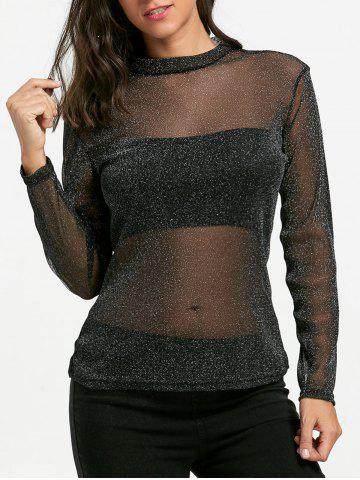 Outfit Long Sleeve Mock Neck Sheer Top