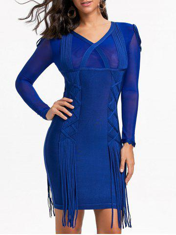 Shop Fringe Mesh Long Sleeve Bandage Dress
