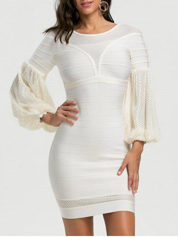 Store Mesh Panel Lantern Sleeve Bandage Dress