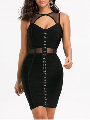 Hot Mesh Panel Cut Out Short Bandage Dress