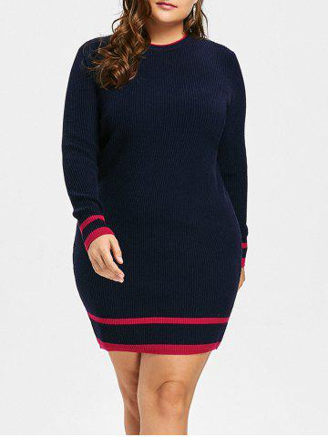 Shop Plus Size Striped Ribbed Sweater Dress
