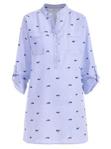 Affordable Plus Size Striped Whale Print High Low Blouse