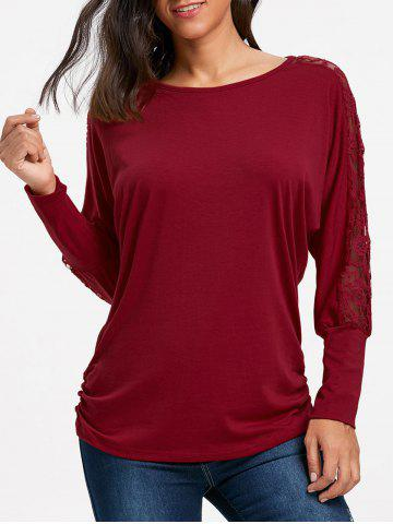 Shop Batwing Sleeve Lace Insert Top