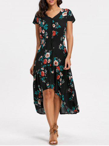 Discount Maxi V-neck Cap Sleeve Floral Dress