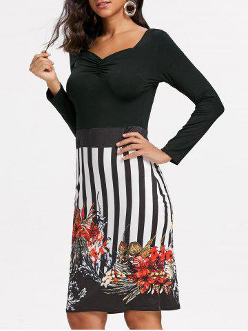Trendy Stripe Floral Bodycon Dress