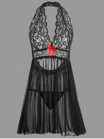 Fancy Plunge Lace Backless Sheer Babydoll