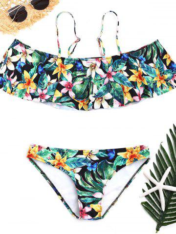 Affordable Cold Shoulder Floral Bikini with Flounce