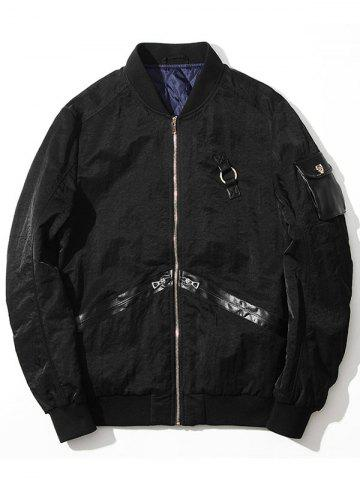 Online Zip Up PU Panel Bomber Jacket
