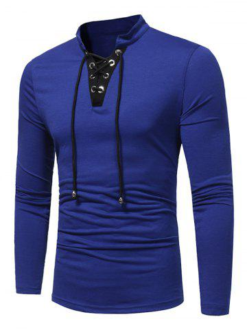 Hot Long Sleeve Color Block Lace Up T-shirt