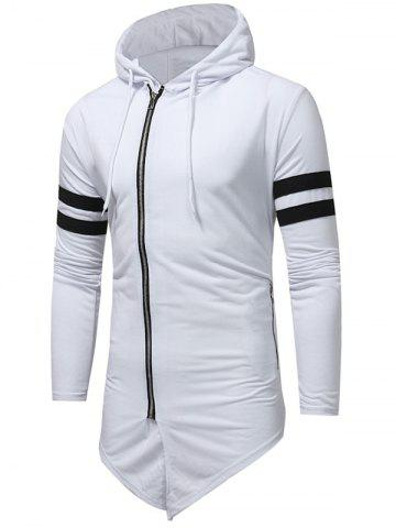 Best Varsity Stripe Asymmetrical Bottom Zip Up Hoodie