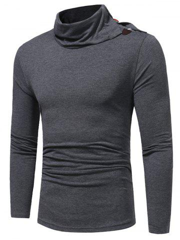 Discount Piles Collar Horn Button Long Sleeve T-shirt