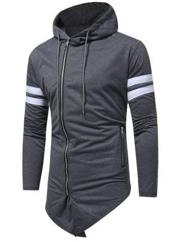 Buy Varsity Stripe Asymmetrical Bottom Zip Up Hoodie