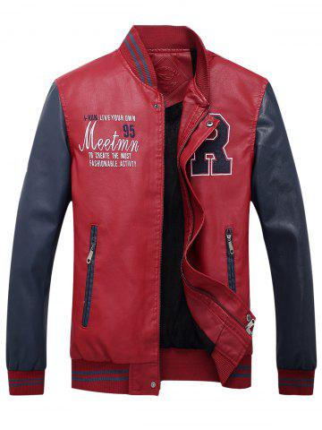 Outfit Graphic Embroidered PU Leather Baseball Jacket