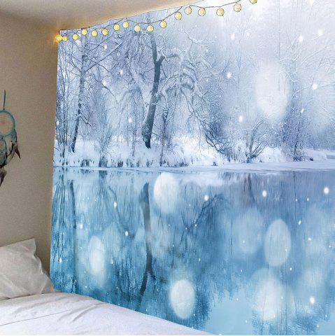 Hanging Lakeside Snowscape Patterned Wall Art Tapestry