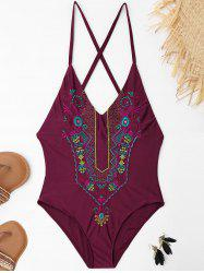 Cross Back Embroidered Plus Size Swimsuit - WINE RED 3XL