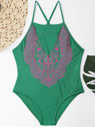 Plus Size Lace Up Embroidered Swimsuit -
