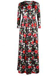 A Line Floral Leaf Print Maxi Dress - BLACK XL