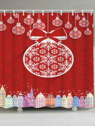 Waterproof Christmas Ball Building Shower Curtain -