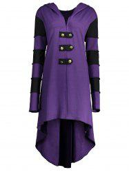 Hooded Plus Size Lace-up High Low  Coat - Purple - 5xl