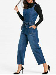Sleeveless Wide Leg Denim Jumpsuit -