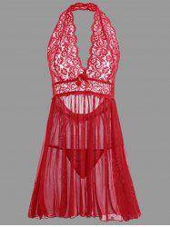 Plunge Lace Backless Sheer Babydoll - RED L