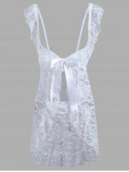 Lace Low Cut Ruffles Babydoll - WHITE L