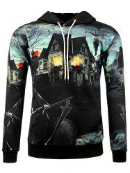 3D Death Haunted House Halloween Hoodie -