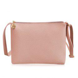 PU Leather Zip Crossbody Bag - PINK