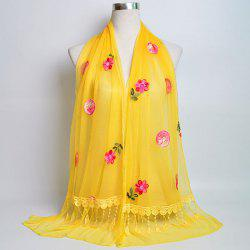 Flower Embroidery Tassel Lace Panel Shawl Scarf - YELLOW