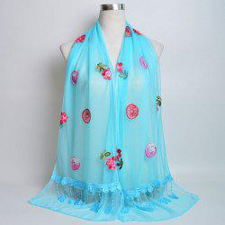 Flower Embroidery Tassel Lace Panel Shawl Scarf -