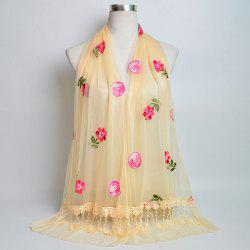 Flower Embroidery Tassel Lace Panel Shawl Scarf - LIGHT YELLOW