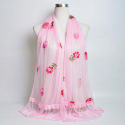 Flower Embroidery Tassel Lace Panel Shawl Scarf - PAPAYA