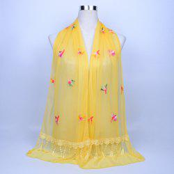 Dandelion Embroidery Lace Tassel Shawl Scarf - LIGHT YELLOW