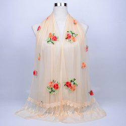 Lace Fringe Floral Embrodiery Shawl Scarf - PALOMINO